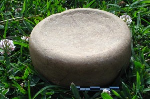 A chunkey stone collected from the site by the landowner.