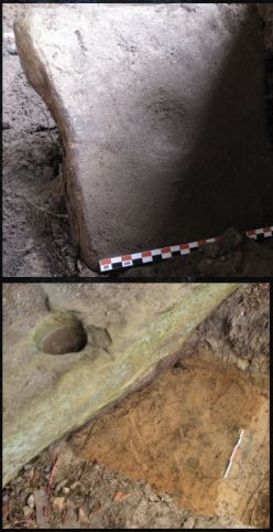 Nutting Stone (top) and Bedrock Mortar Hole (bottom).